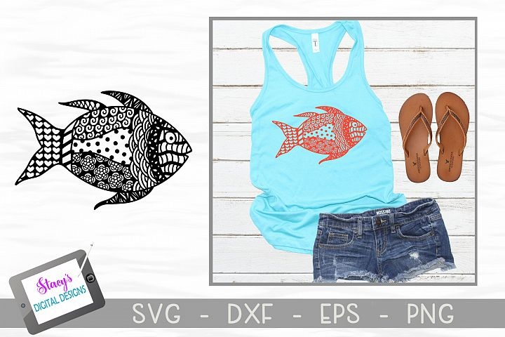 Fish SVG with Doodle patterns