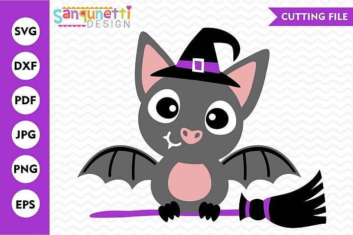 Bat witch SVG, Halloween cutting file