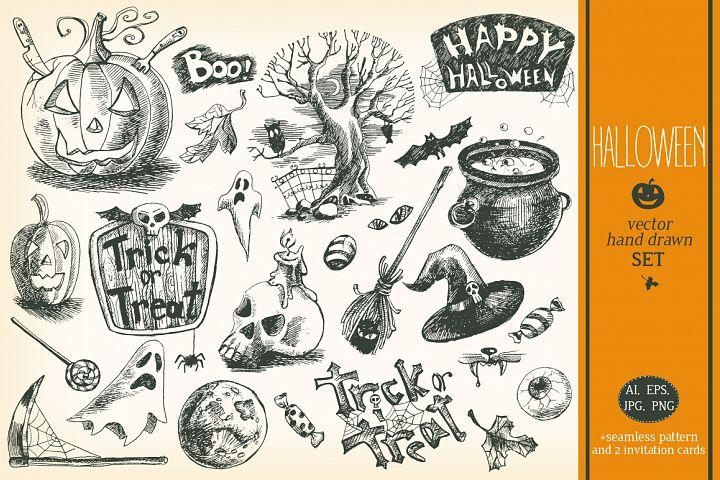 Hand drawn vector Halloween set