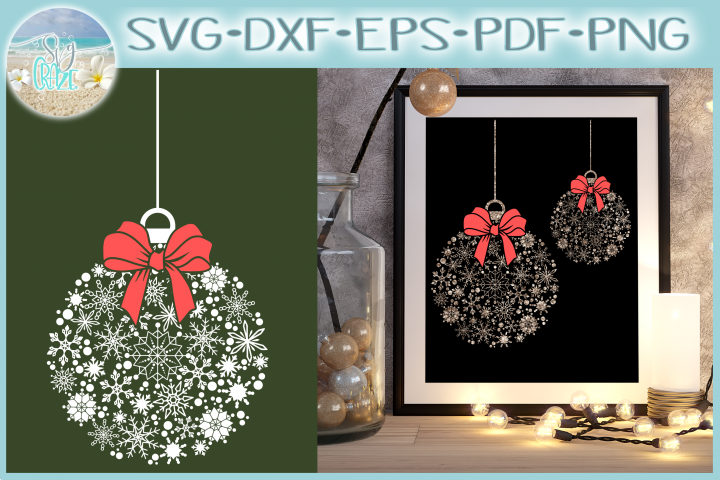 Snowflake Christmas Ornament SVG Dxf Eps Png Pdf