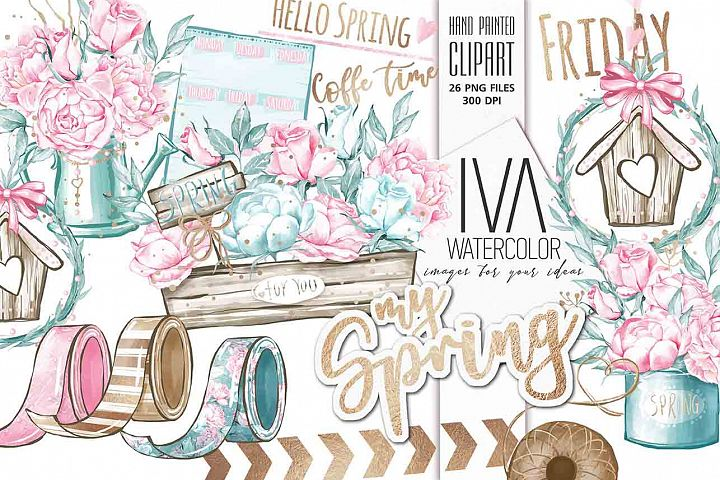Spring Clipart, Floral Clipart