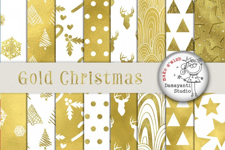 Gold Christmas Digital Paper with BONUS 6 papers