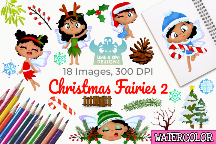 Christmas Fairies 2 Watercolor Clipart, Instant Download