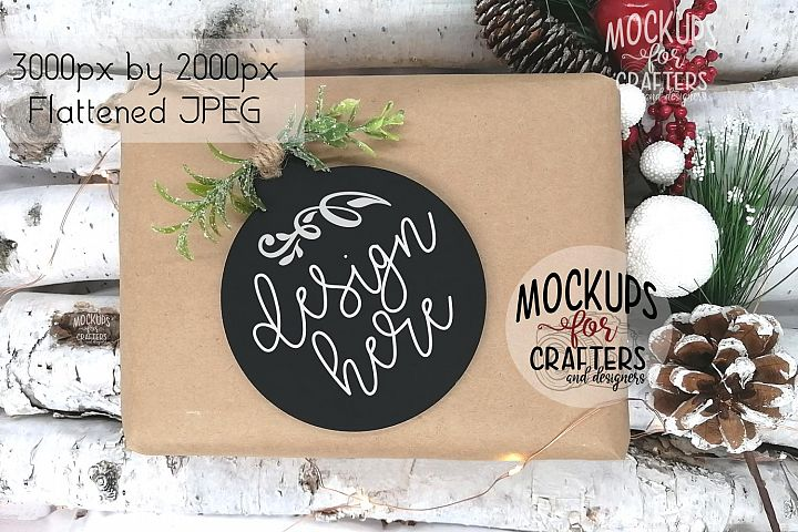 Ornament, Gift Tag, Black Round, MOCK-UP