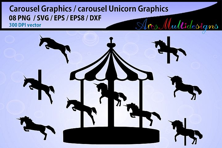 carousel silhouette / carousel Unicorn silhouette SVG