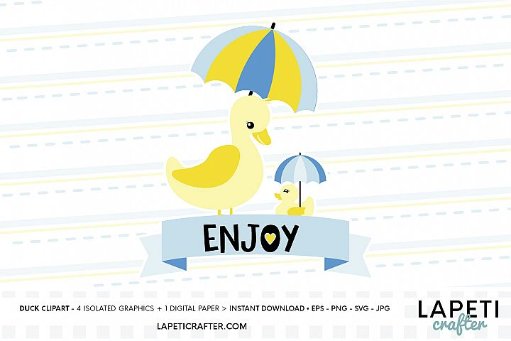 Duck illustration, enjoy time, duck with umbrella clip art