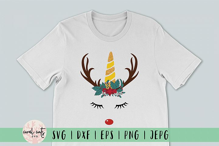 Unicorn Chrsitmas Rudolph - Christmas SVG EPS DXF PNG