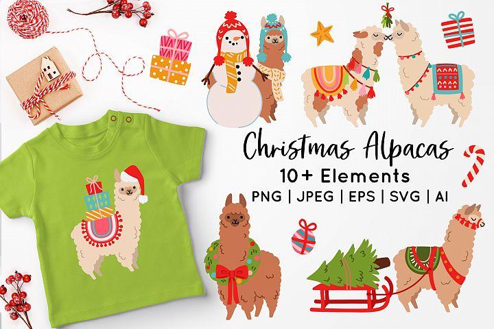 Christmas Alpacas Vector Art