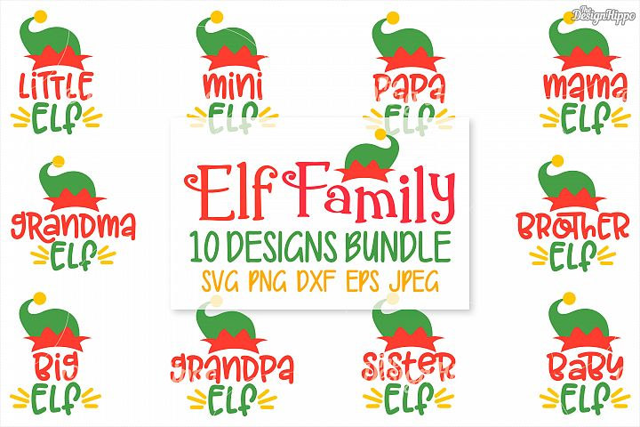 Elf Family SVG Bundle, Christmas Elf Bundle, PNG, DXF, Files