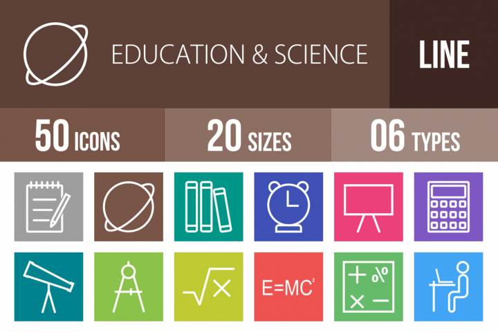 50 Education & Science Line Multicolor B/G Icons