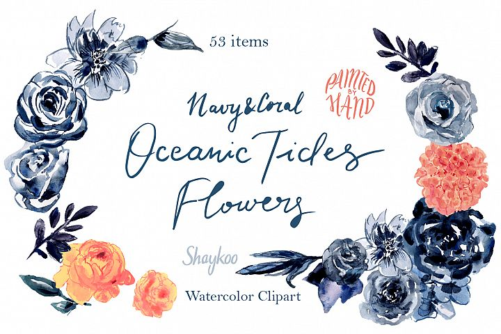 Navy and Living Coral Handpainted Watercolor Clipart