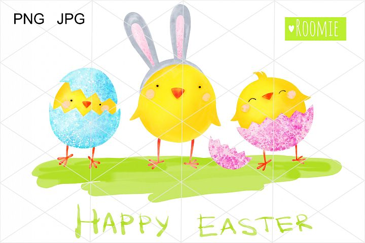 Watercolor Easter chickens clip art. Happy Easter eggs PNG
