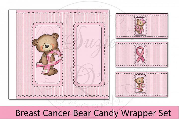 Breast Cancer Bear Candy Bar Wrapper Set