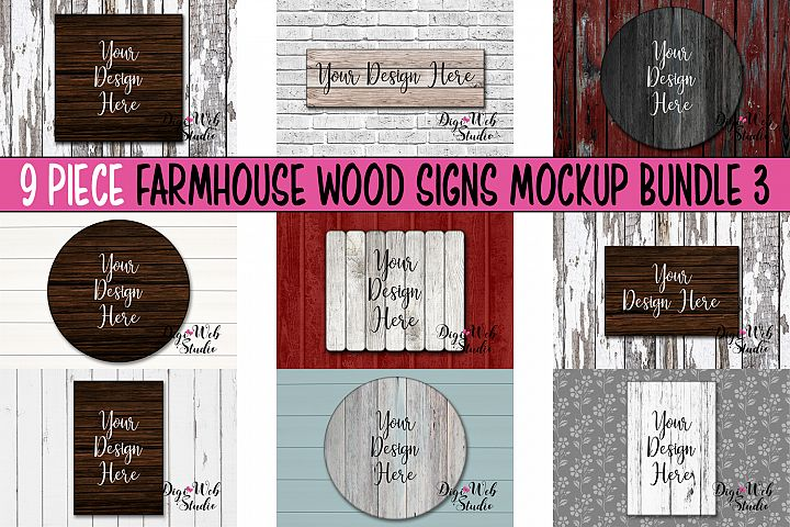 Wood Signs Mockup Bundle - 9 Piece Farmhouse Wood Signs 3