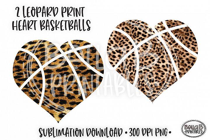 Leopard Print Heart Basketball Sublimation Design