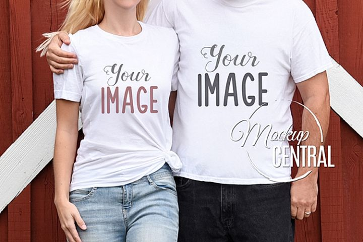 Couples Matching Blank White Love T-Shirt Mockup JPG Shirt