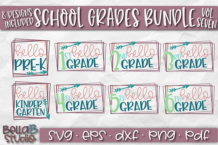 School Grades SVG Bundle, Back To School SVG Bundle, Hello