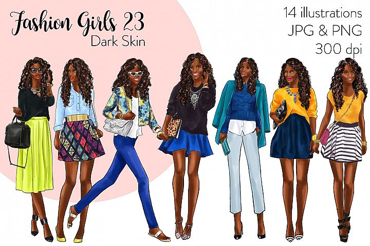 Fashion illustration clipart - Fashion Girls 23 - Dark Skin