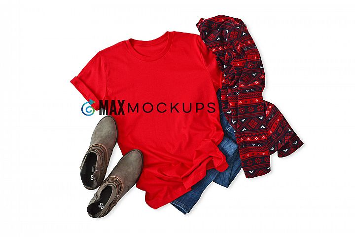 Red t-shirt Mockup, blank flatlay, boots, fleece stock photo