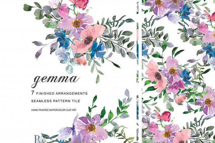 Watercolor Blush Pink Purple Blue Pink Flowers Clipart