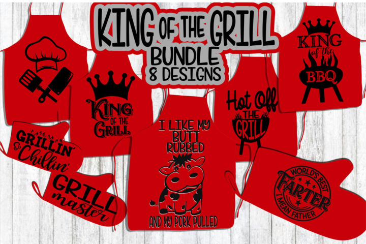 KING of the GRILL - Bundle - 8 BBQ Grill - Apron - Fathers