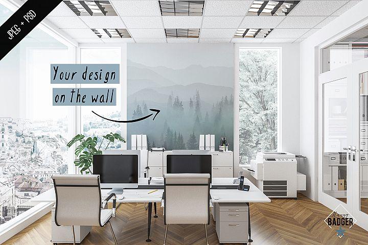 Office interior mockup - frame & wall mockup creator