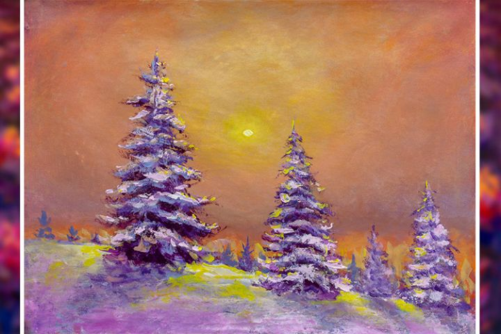 Christmas trees at dawn in the snowy forest art
