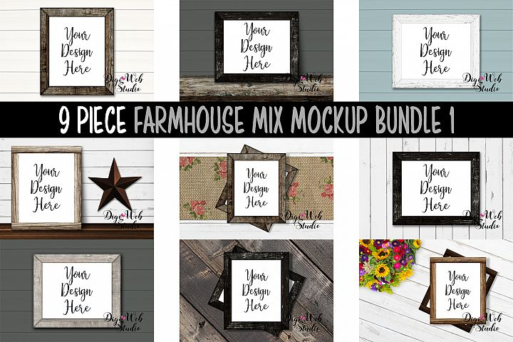 Wood Signs Mockup Bundle - 9 Piece Wood Frames Farmhouse Mix