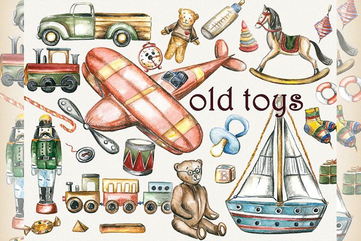 Toy clipart, toys clipart, old toys clipart, kids clipart