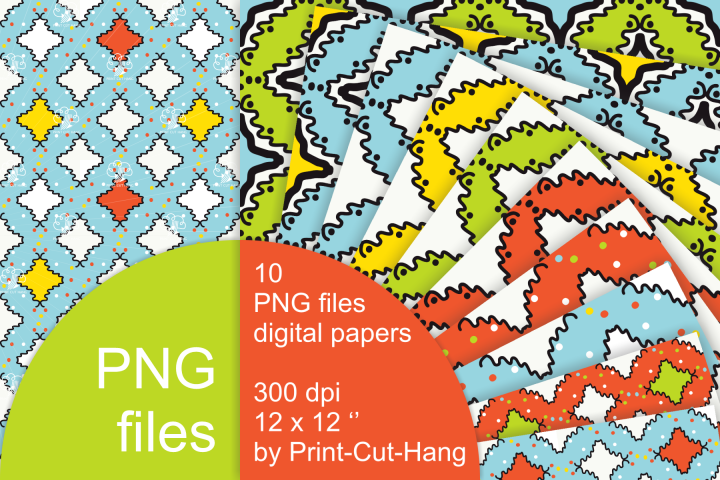 Digital Papers with Hand Sketched Elements - PNG files