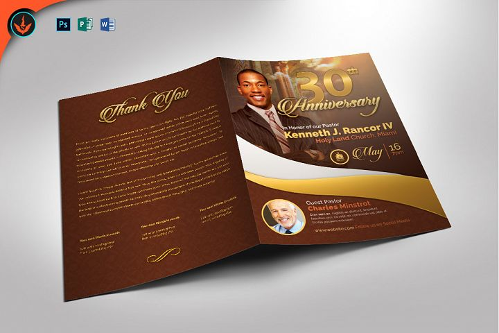Gold Pastors Anniversary Program Photoshop, Word, Publisher