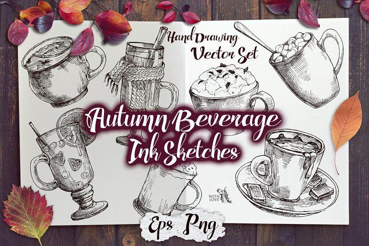 Autumn Beverage Ink Sketches