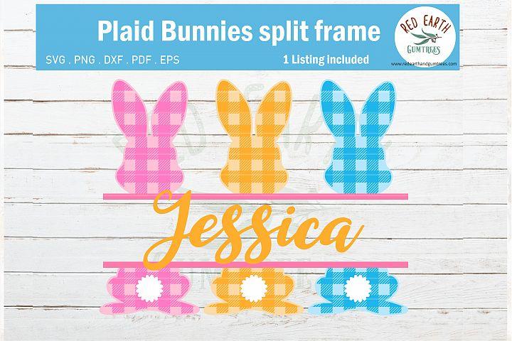 Easter plaid bunny split monogram frame, gingham rabbit SVG