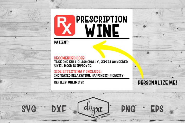 Prescription Wine Label - Alcohol SVG Cut File