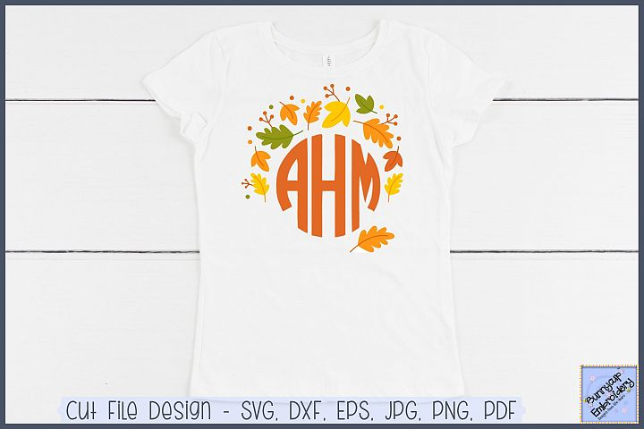 Fall LeavesMonogram Topper - SVG and Clipart