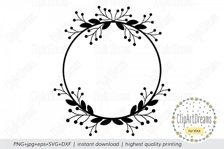 Floral SVG Circle Floral Monogram Frame cutting file