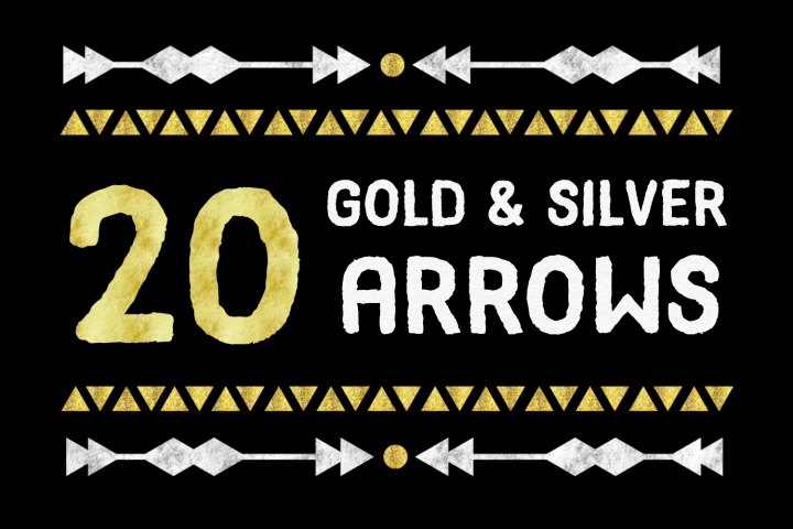 20 Gold and Silver Arrows PNG