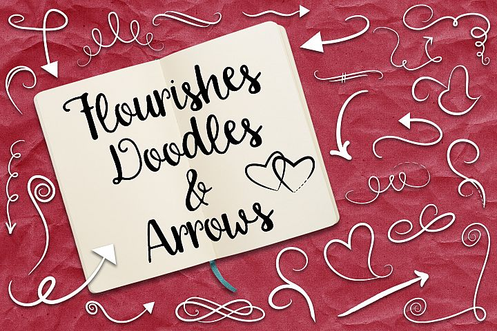 Flourishes, Doodles and Arrows Vector Clip Art - Free Design of The Week Font