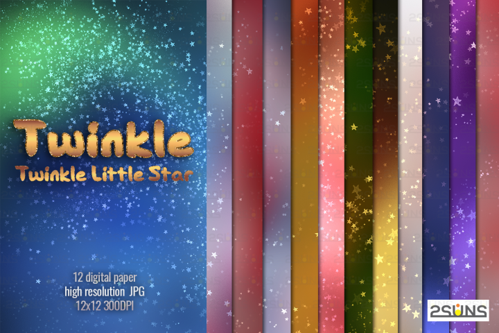 Twinkle Twinkle Little Star Digital paper textures christmas
