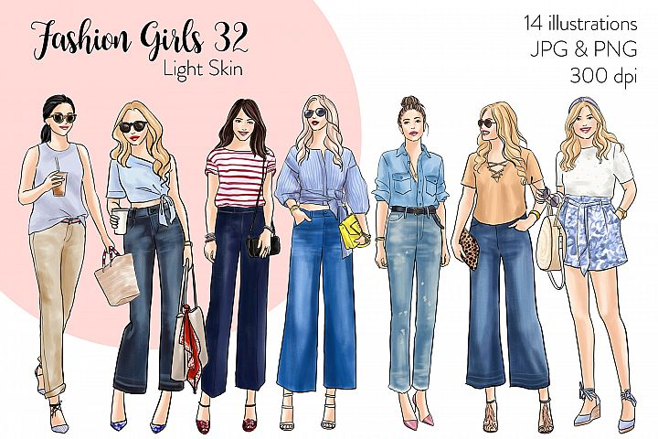 Fashion illustration clipart - Fashion Girls 32 - Light Skin