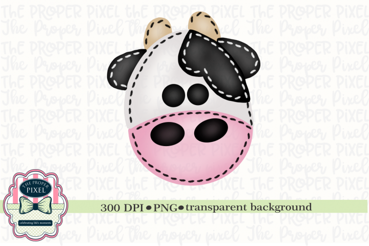 Watercolor Stitched Cow Sublimation Printable