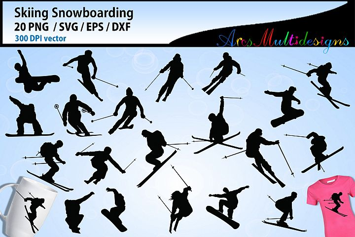 skiing silhouette vector / skiing snowboarding silhouette