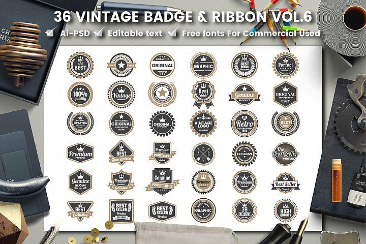 36 VINTAGE BADGE & RIBBON Vol.6