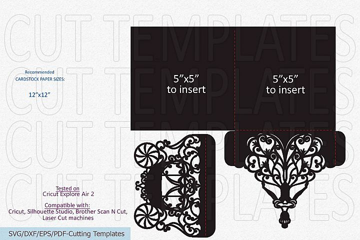 Princess 5x5 trifold envelope wedding invitation laser cut example image 8