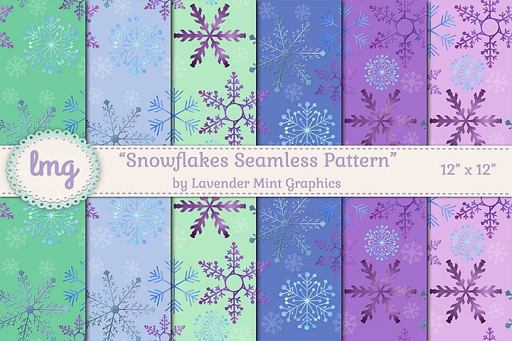 Christmas Winter Holiday Snowflakes Seamless Patterns