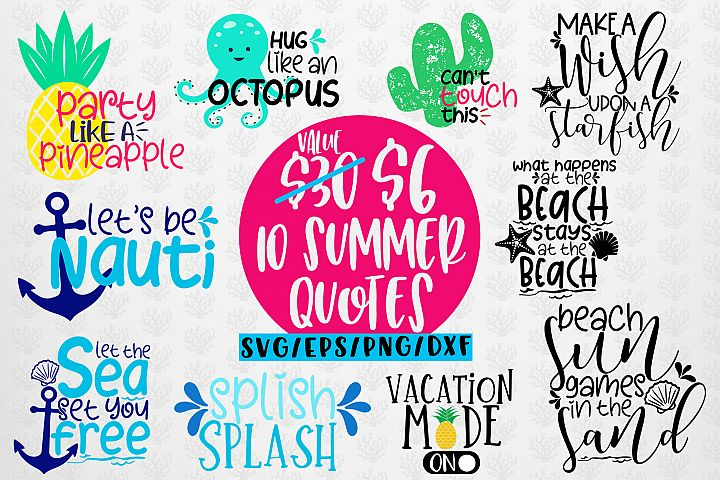 Summer Vibes Bundles - 10 Svg EPS DXF PNG Cut File