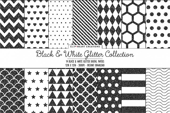 Black and White Glitter Pattern Papers