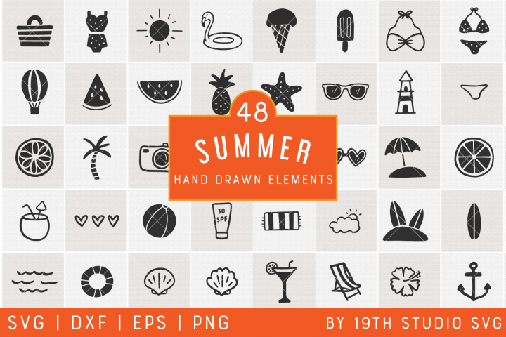 Summer Hand drawn Elements | Summer SVG Bundle| VB32