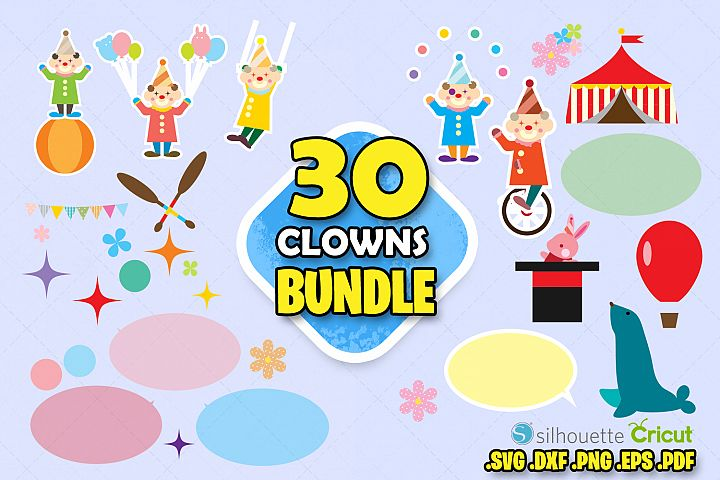 Clowns clip art carnival clowns clipart birthday scrapbook