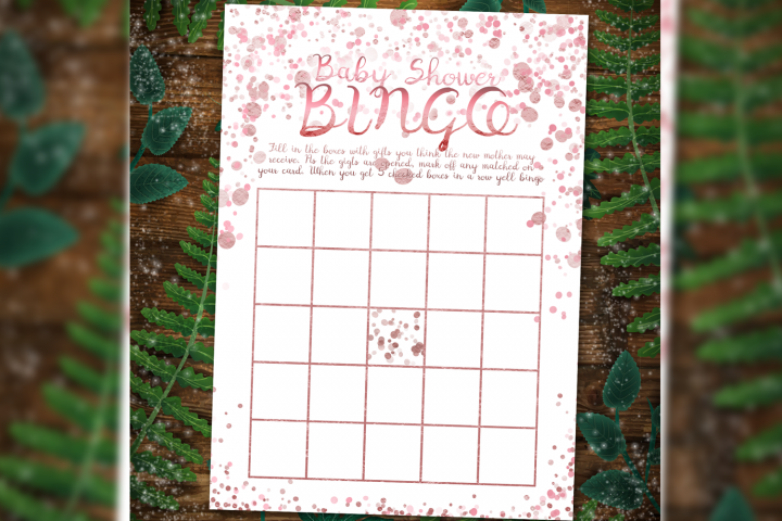 Rose gold Baby Shower Bingo Games template printables